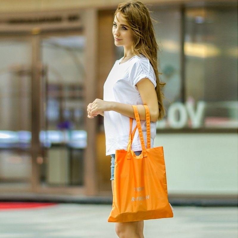 防水多功能晴雨兩用購物包防水覆膜購物袋-橙色魔小物現貨10