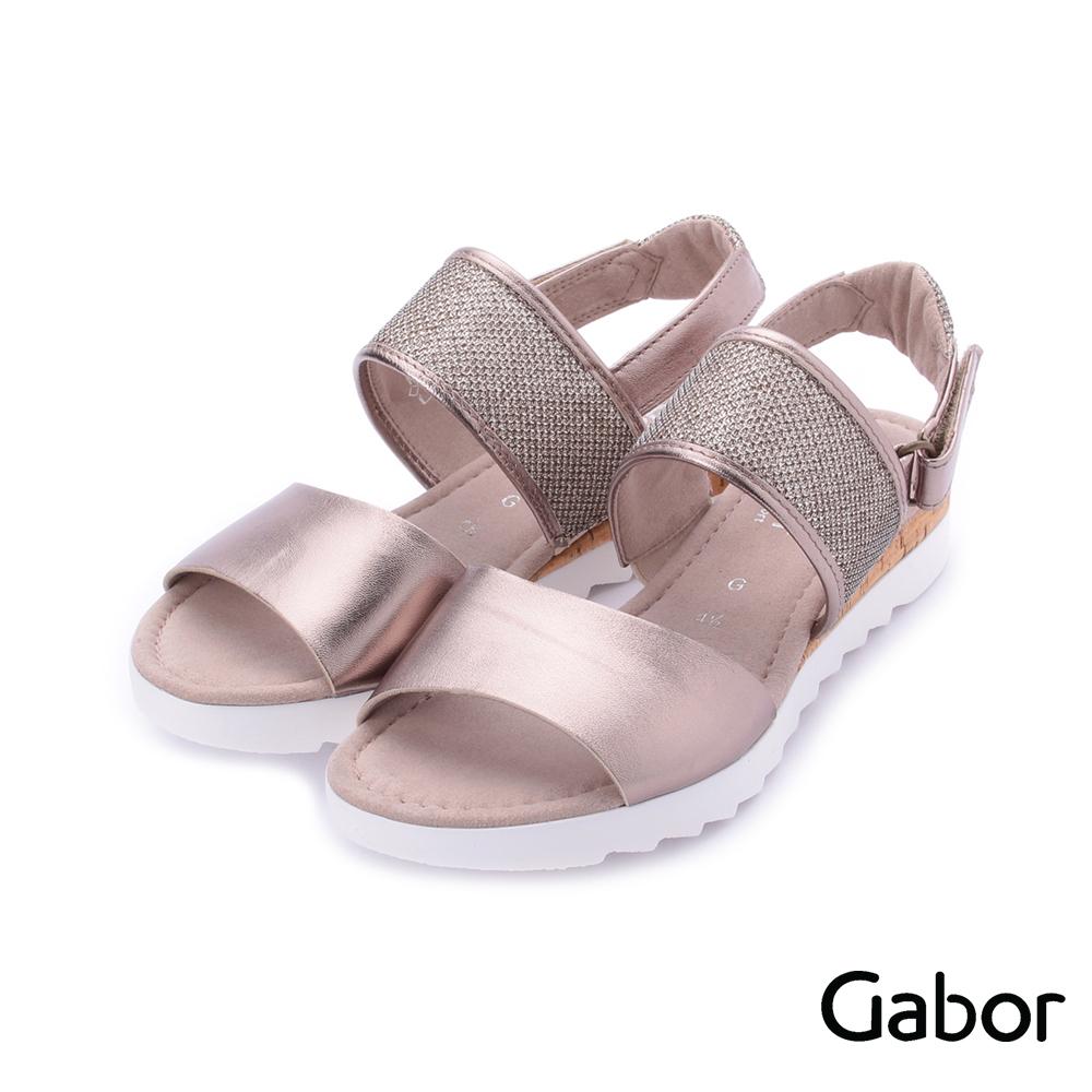 德國GABOR 金屬感雙寬帶繞踝平底涼鞋 粉金 82.742.64 女鞋