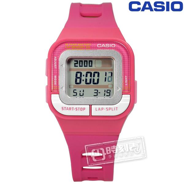 CASIO SDB-100-4A 10年電力慢跑運動方型計時電子手錶桃紅色34mm
