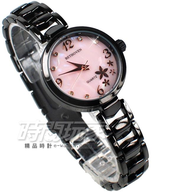 BETHOVEN戀戀花漾數字鑽錶珍珠螺貝面盤鑽時刻女錶IP黑電鍍x粉色BE2031黑粉
