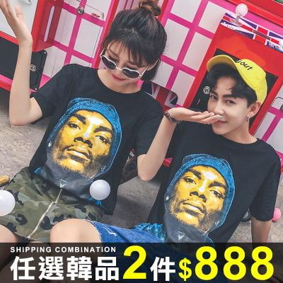 任選2件888短袖T恤情侶短袖T恤寬鬆韓版潮流人像印花短袖上衣08B-B0201