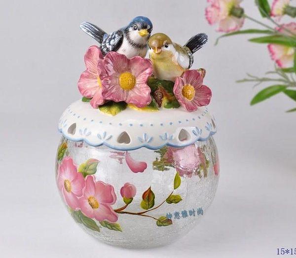 愛情鳥玻璃陶瓷糖果罐