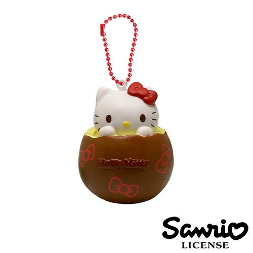 【日本進口正版】凱蒂貓 HelloKitty 紅色款 雞蛋布丁 捏捏吊飾 捏捏樂 美食 軟軟 三麗鷗 - 615220
