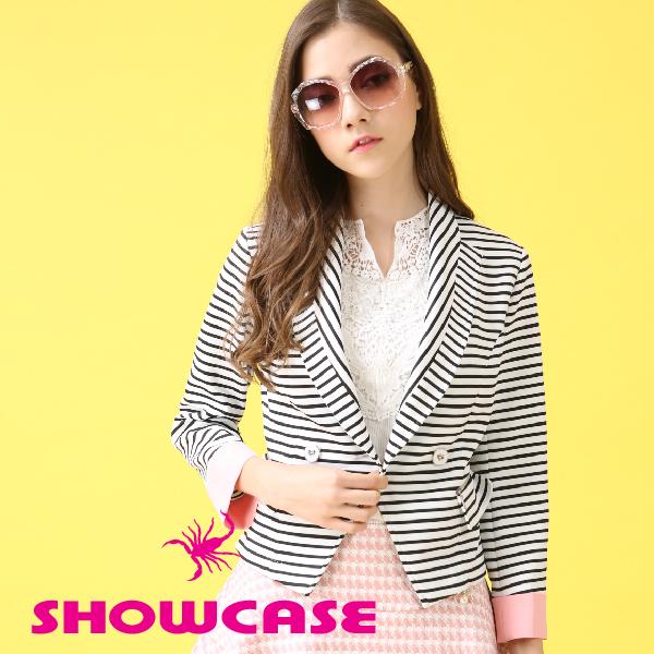 【SHOWCASE】黑白條紋撞色西裝外套(黑白條紋)