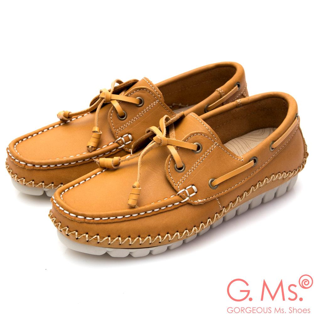 G.Ms. MIT系列-牛皮縫線綁帶帆船鞋*駝色