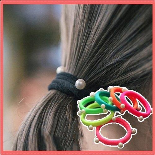髮飾   韓版頭飾 髮飾 基礎款珍珠髮圈 頭花 頭繩 紮頭髮皮筋