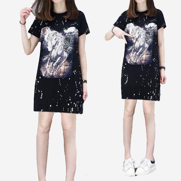 針織休閒天馬印花黑色短袖潑墨長版T恤短洋裝 11850065
