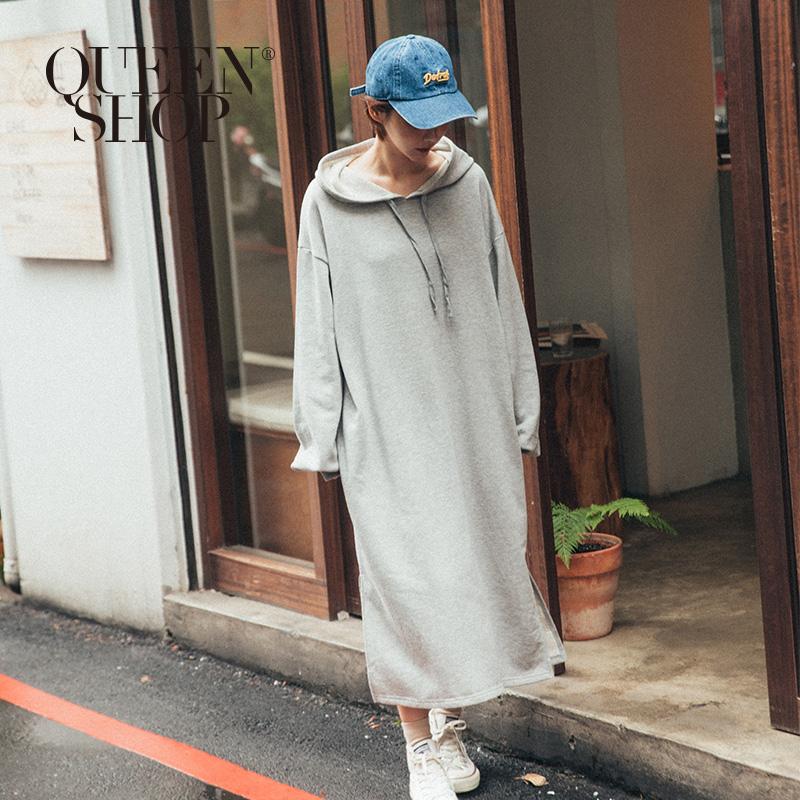 Queen Shop【01084662】MIT連帽長版棉質洋裝 兩色售 *現+預*