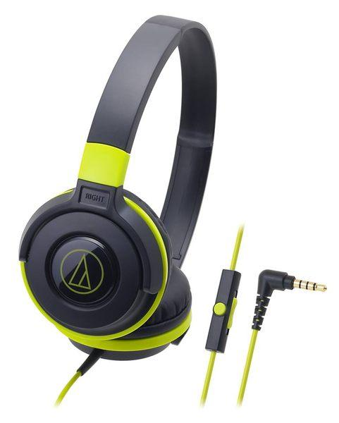 鐵三角ATH-S100is耳罩式耳機BGR黑綠色支援智慧型手機麥克風My Ear台中耳機專賣店