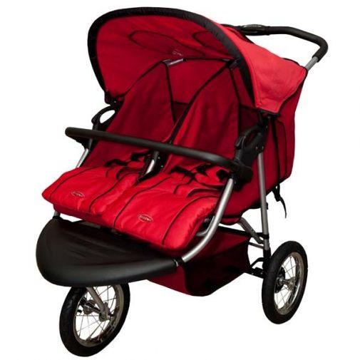 [ 家事達 ] 欣康-雙胞胎並排 三輪嬰兒推車-紅色  特價