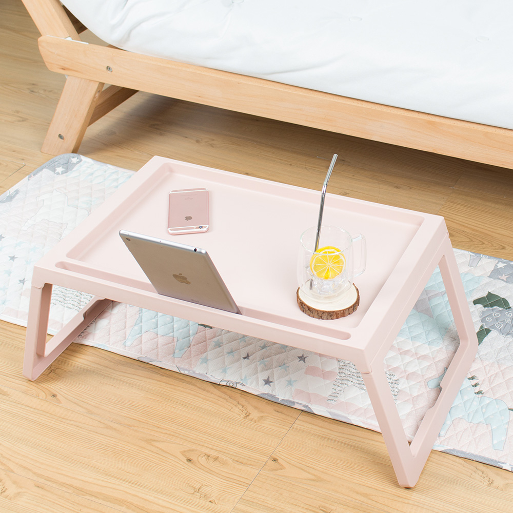 樂嫚妮 多功能折疊 懶人桌 電腦桌 床上 折合桌-粉