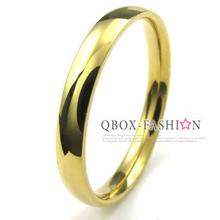 《 QBOX 》FASHION 飾品【W10022932】精緻個性細版素面金色316L鈦鋼戒指/戒環(0.3cm)