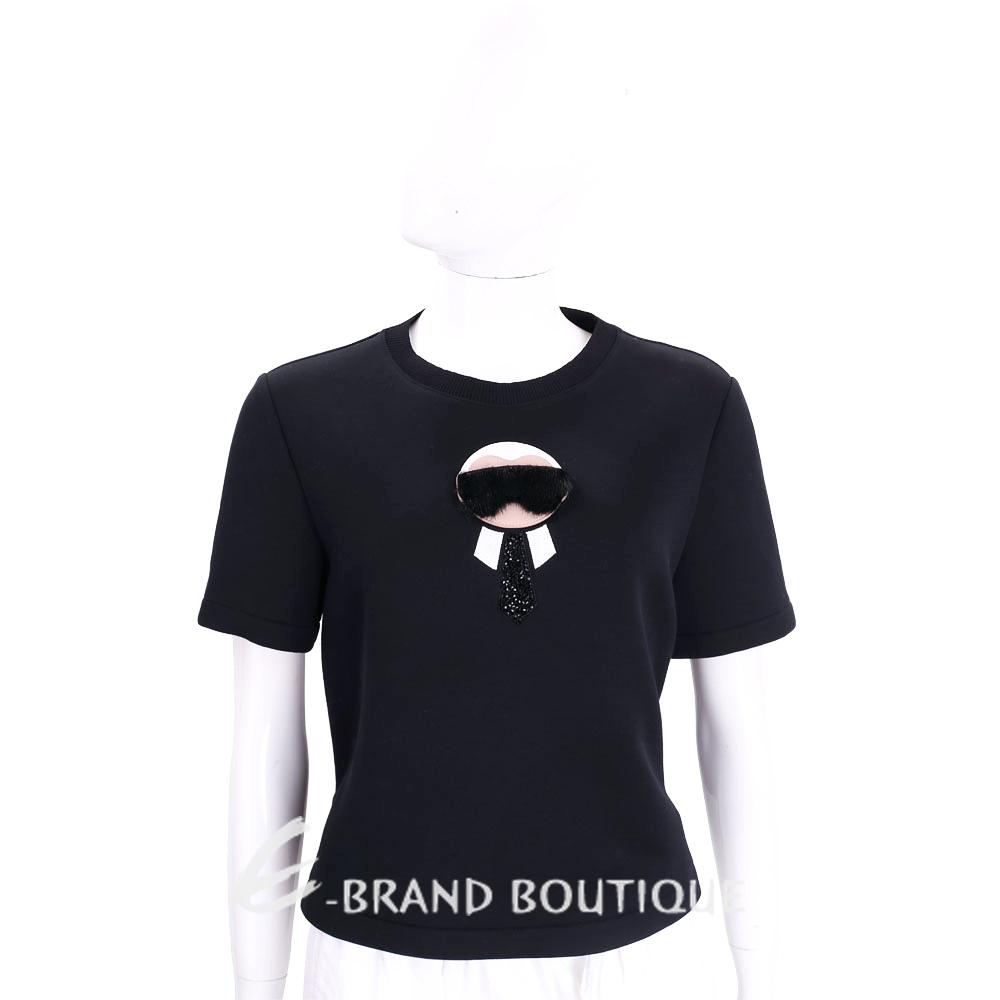 FENDI KARLITO黑色老佛爺皮草造型棉質短袖上衣1710937-01