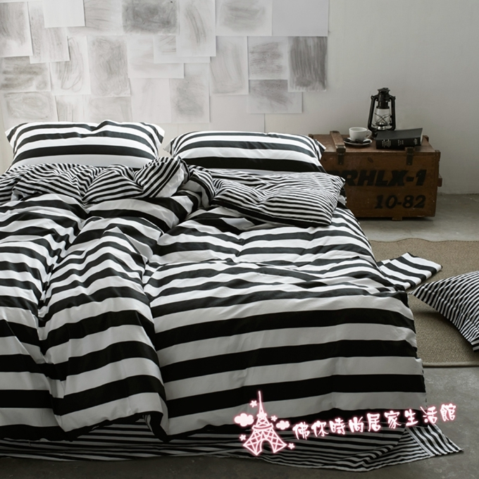 北歐簡約風雙人床包fife加大雙人6尺床包組純棉床包清新條紋黑白ikea平單佛你企業