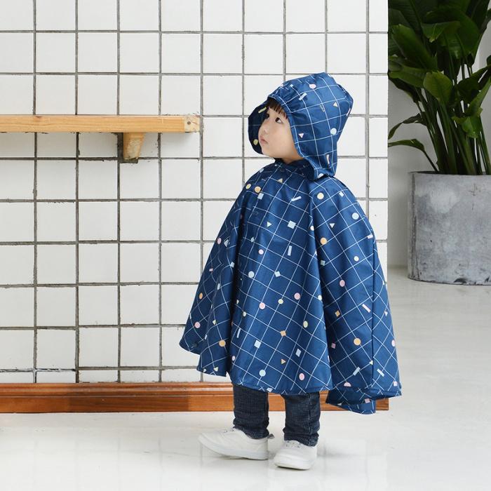 tiohoh格子幾何系列蝙蝠衫兒童風雨衣深藍色-8608