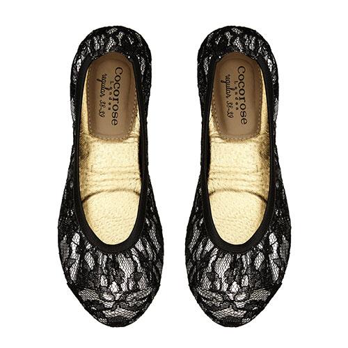 Cocorose london平底鞋 娃娃鞋Balham蕾絲摺疊鞋-銀