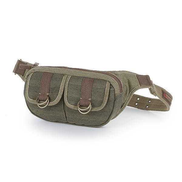 HEDGREN 棉麻系列雙口袋隨身腰包(綠色) HAM08000GR