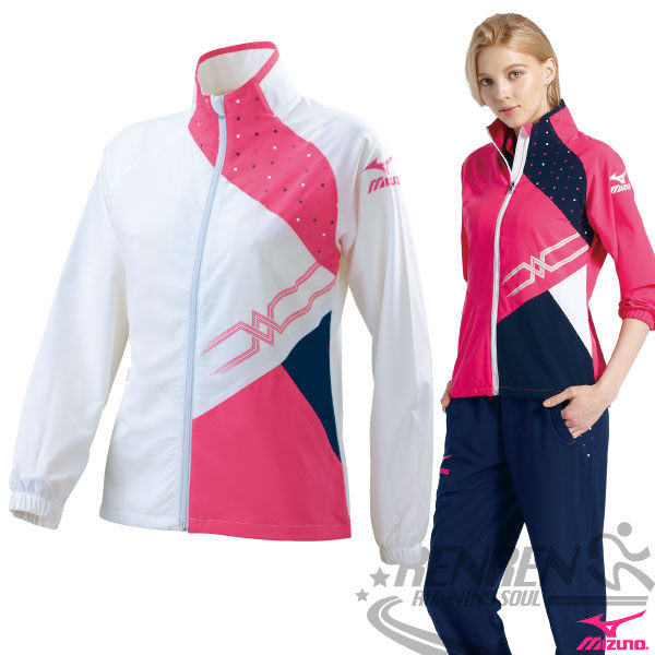 MIZUNO美津濃  女休閒平織運動外套(白*玫紅*深丈青) 抗UV運動套裝外套