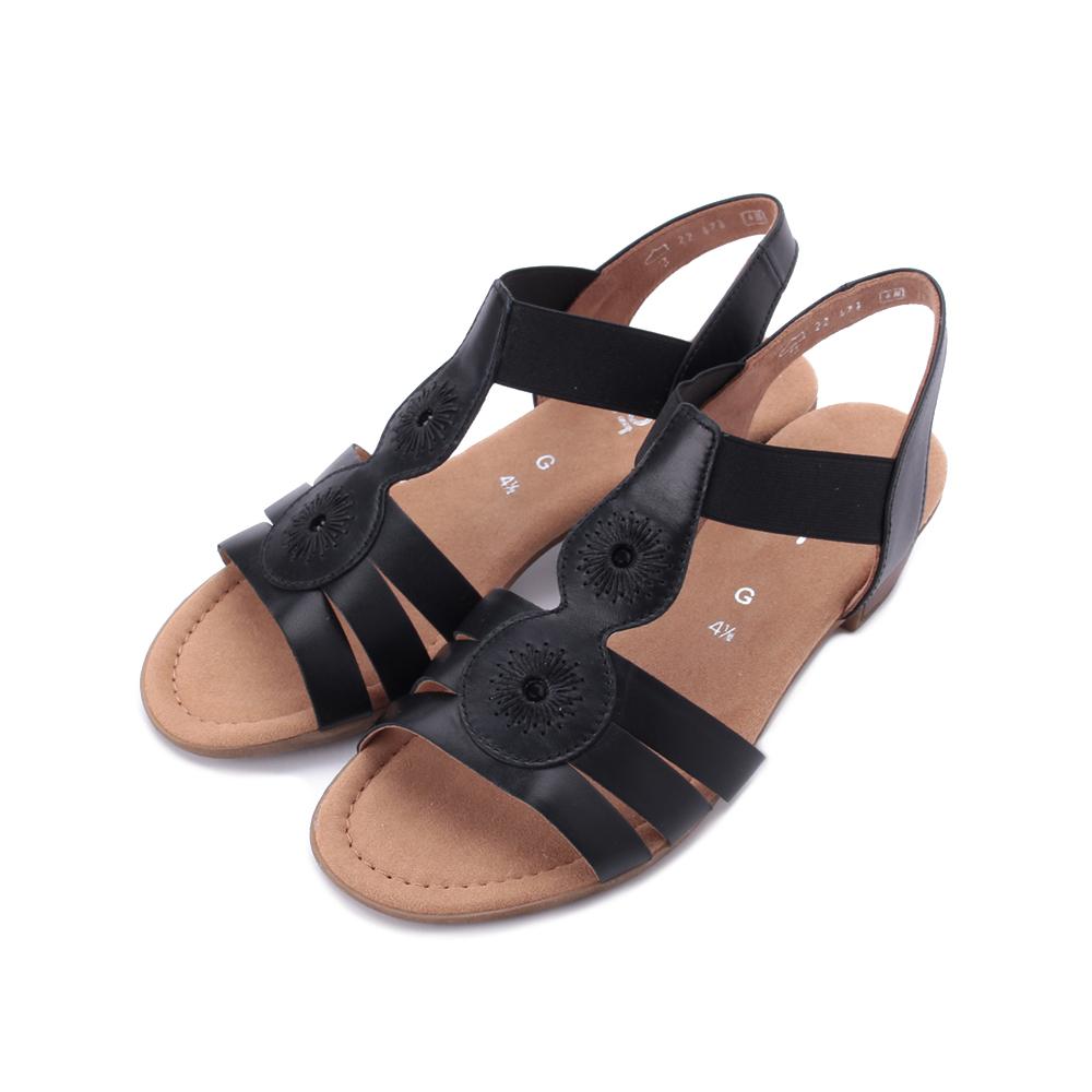 德國 GABOR 羊皮繡花低跟涼鞋 黑 22.474.27 女鞋