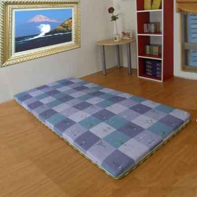 小葉子-24 hours藍色系折疊床墊-直立纖維棉三折疊竹蓆涼蓆床墊單人3呎~隨機出貨