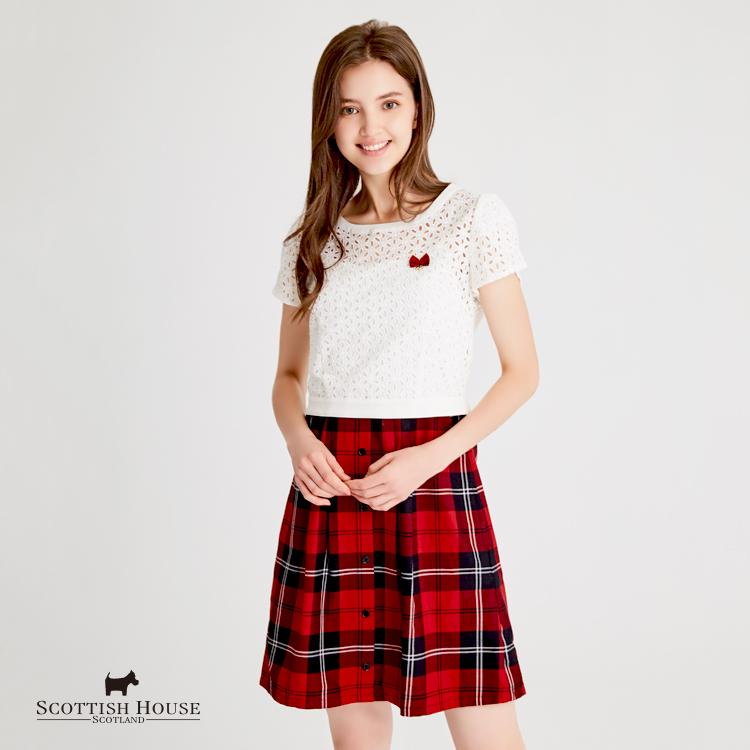 【紅黑格】格紋背心洋裝+蕾絲繡花上衣 2件式 Scottish House【AH3106】