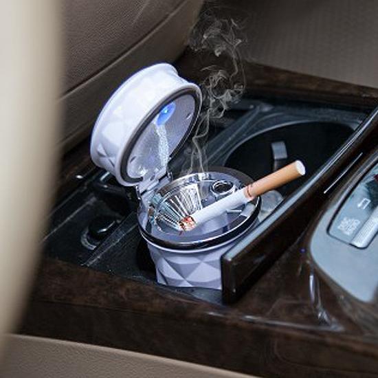 ♚MY COLOR♚LED燈車用煙灰缸 可掛 車載 汽車 懸掛 冷氣口 精緻 拆裝 清洗 創意 菱格【L151-1】