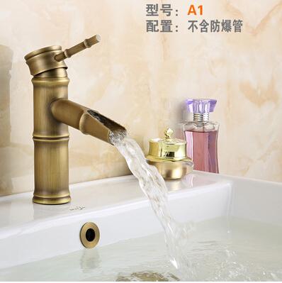 仿古龍頭歐式全銅仿古水龍頭浴室冷熱藝術台盆竹節龍頭A1
