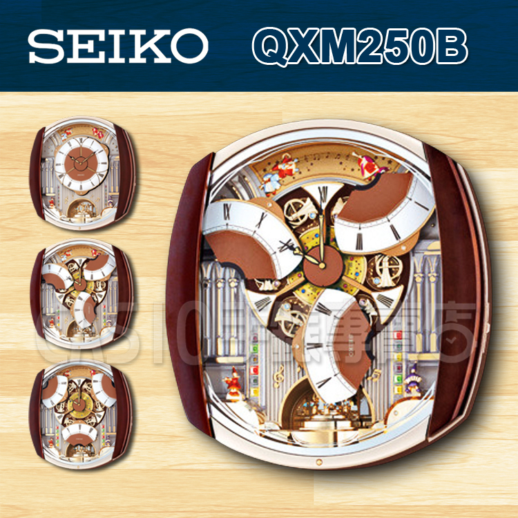 CASIO手錶專賣店SEIKO精工掛鐘QXM250B QXM250音樂報時精緻工藝飛舞面盤音樂報時掛鐘