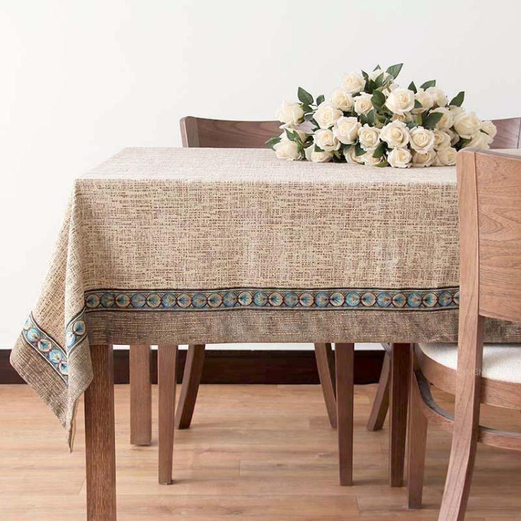 青眉中式現代餐廳餐桌布長方形桌墊布藝風格客廳茶幾桌布創意臺布【非凡】