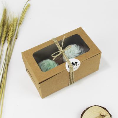 2入開窗牛皮紙方盒馬芬瑪芬盒杯子蛋糕蛋糕盒慕斯奶酪月餅盒手提盒禮盒蛋塔盒布丁盒