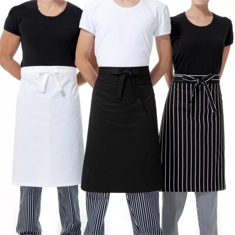 廚房半身圍腰酒店廚師圍裙黑色半腰餐廳廚房防污男圍裙定制【星時代女王】