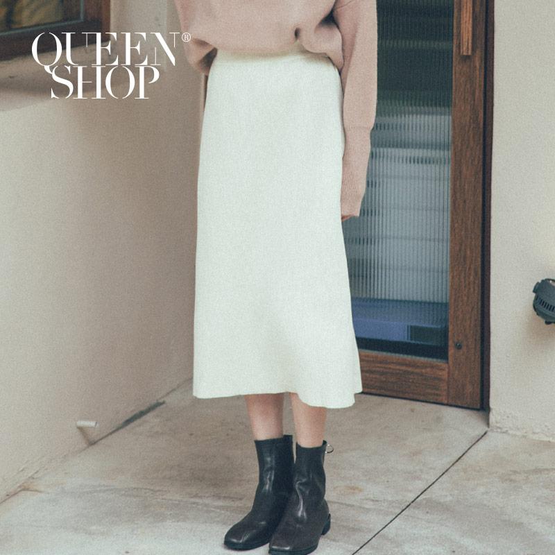 Queen Shop【03020601】簡約素面針織中裙 兩色售*現+預*