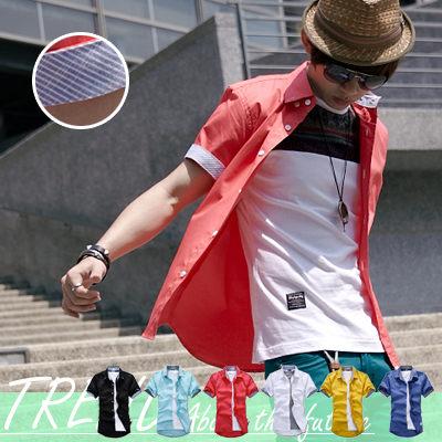 襯衫∥柒零年代∥【N7832J】馬卡龍色系條紋反摺簡約素色短袖襯衫(SH6020)