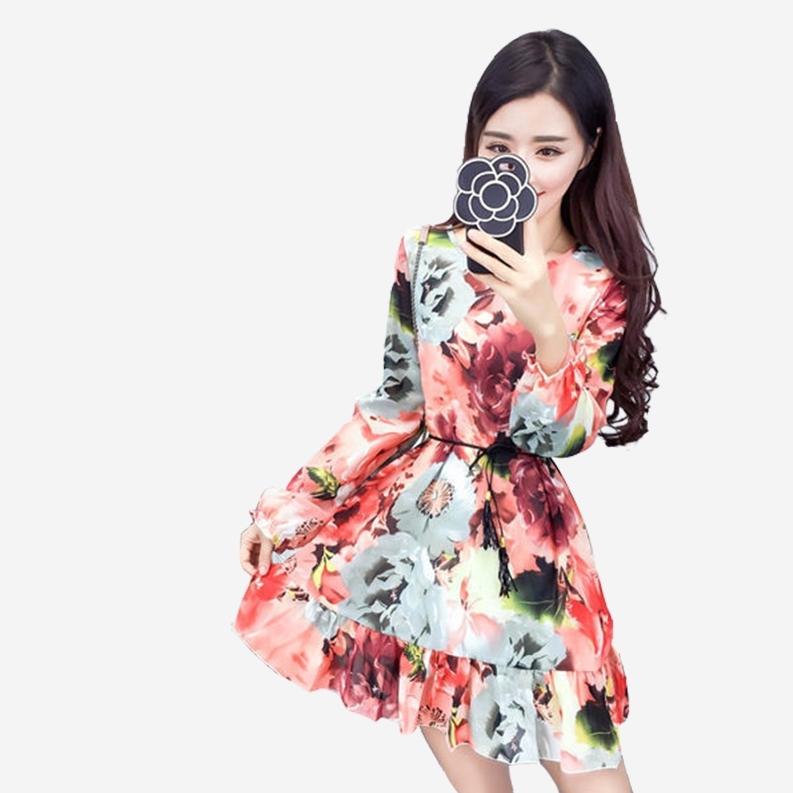 雪紡繽紛印花圓領長袖長版上衣短洋裝 (紫  橘紅)二色售 (M8SF) 11852038