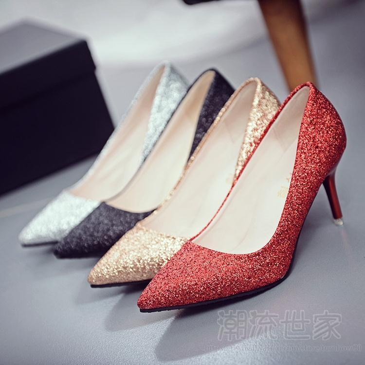 紅色禮服宴會金色婚鞋高跟鞋伴娘鞋亮片淺色婚紗照女中跟細跟『潮流世家』