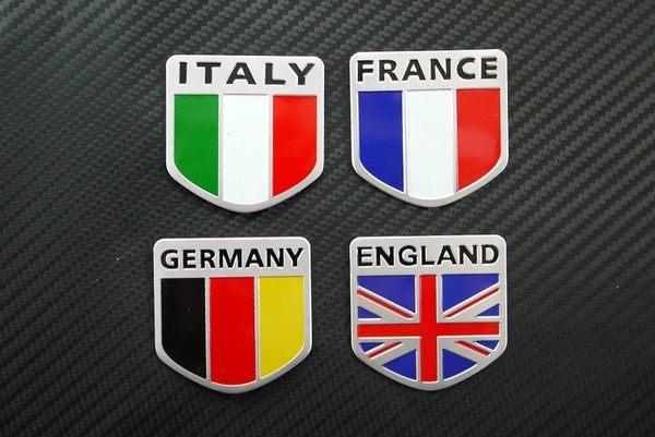 VIP側窗裝飾貼金屬貼飾義大利法蘭西德國英格蘭銘牌油箱蓋貼標國徽貼紙附貼膠