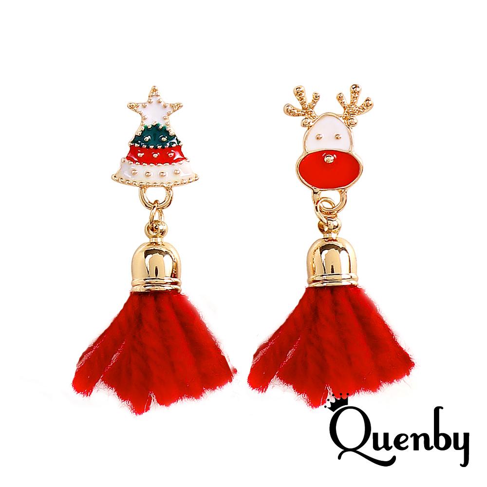 Quenby 秋冬聖誕節小鹿鈴噹酒紅色流蘇耳環/耳針