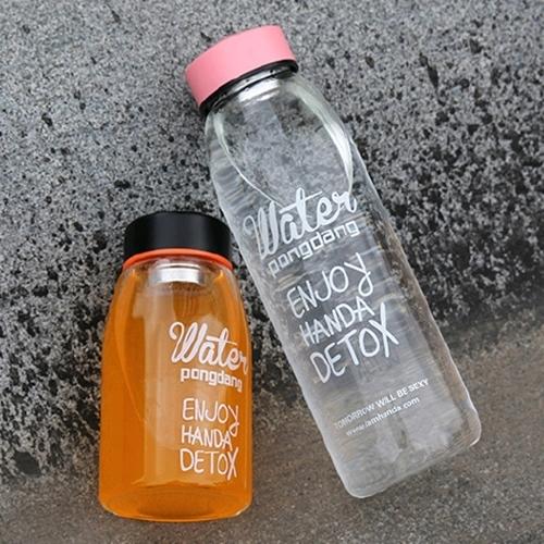 彩蓋茶隔杯500ml附麻布袋韓系時尚玻璃杯玻璃瓶water水杯水瓶水壺隨身瓶泡茶杯