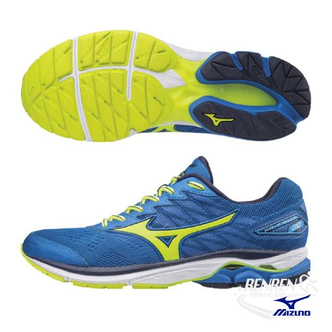 美津濃MIZUNO男跑鞋WAVE RIDER 20藍螢光黃雲波浪款路跑鞋J1GC170344胖媛的店