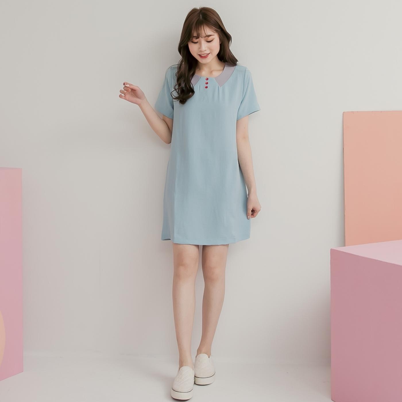 文藝氣質抓皺三釦短袖連身裙 (藕粉  天藍)二色售 11850070