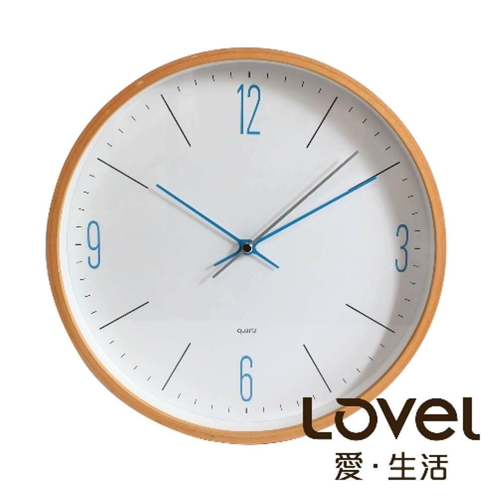 Lovel 25cm日系原木時鐘-寧靜海藍(W722-BL)