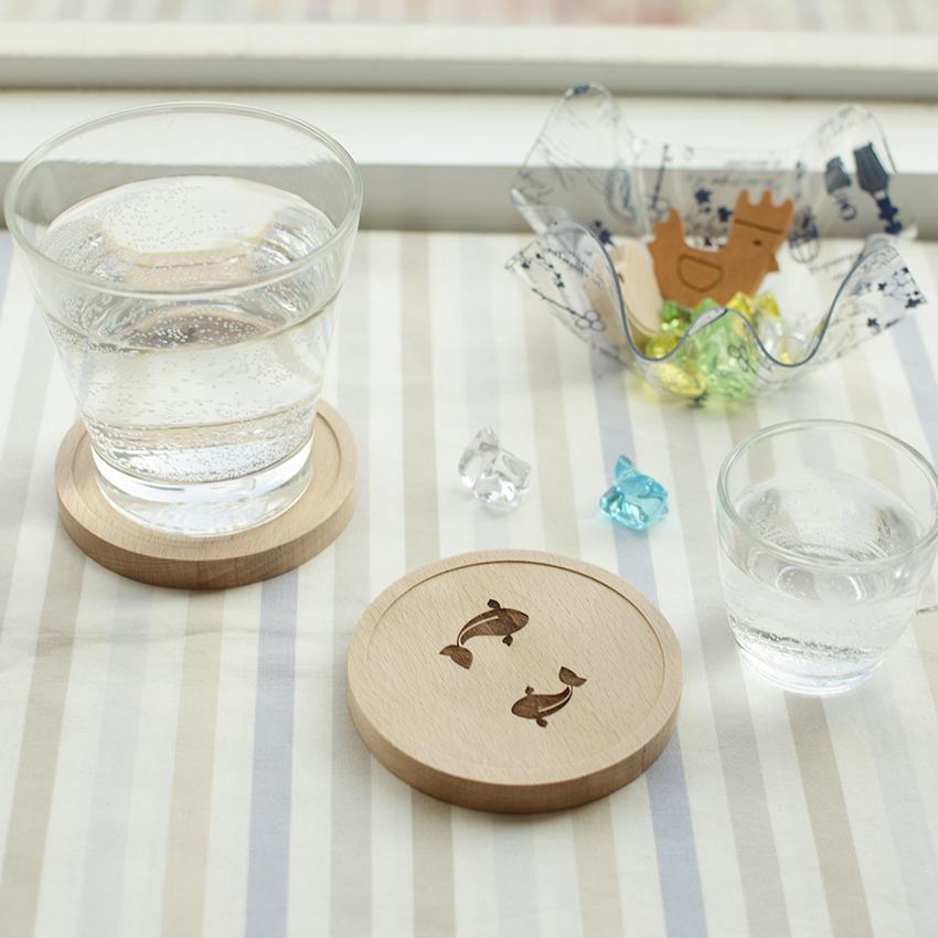 水故事鯉魚金魚防水木製杯墊