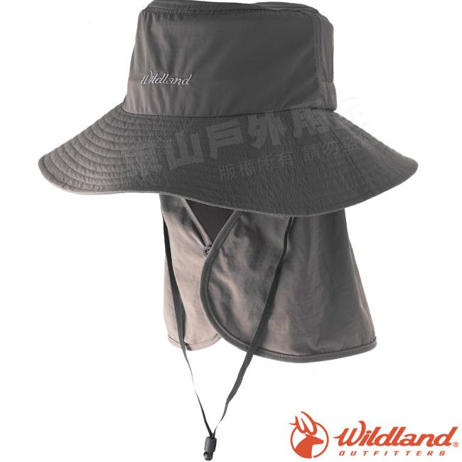Wildland荒野W1037-64深卡灰中性抗UV調節式遮陽帽防曬工作帽登山健行休閒帽遮臉大圓盤帽