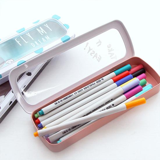 ♚MY COLOR♚童趣創意文具鐵盒 學生 筆 收納 辦公 創意 開窗 馬口鐵 文具 筆盒【P244】
