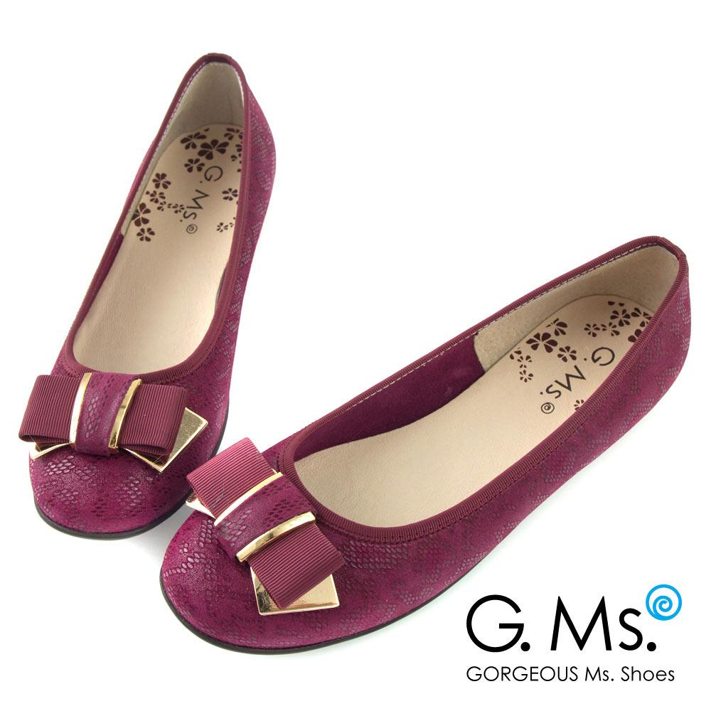 G.Ms.* MIT系列-印花圖騰羊皮飾釦蝴蝶結豆豆娃娃鞋-紫色