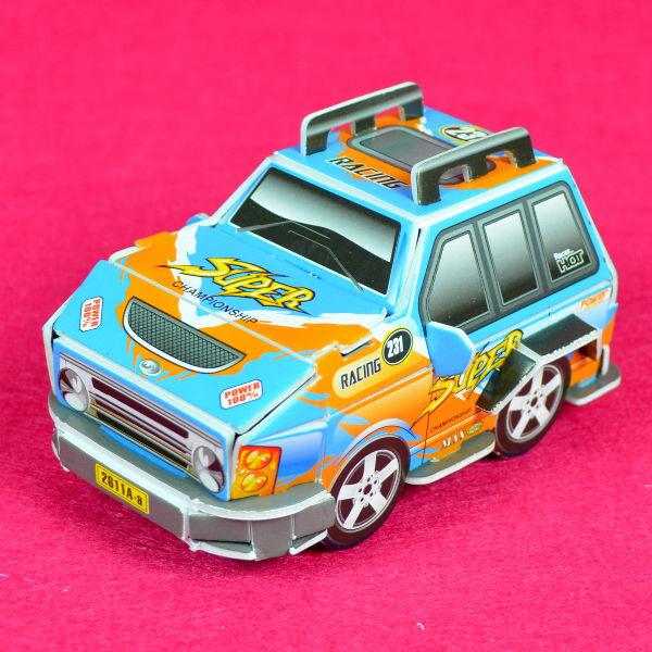 佳廷家庭親子DIY紙模型3D立體拼圖贈品獎勵品專賣店汽賽車摩托車袋裝WRC賽車1藍Calebou卡樂保