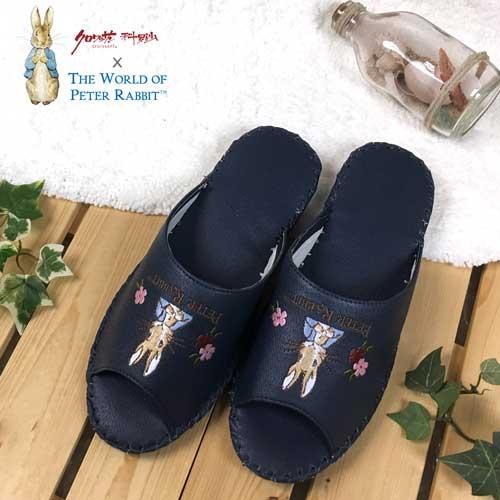 クロワッサン科羅沙Peter Rabbit室內鞋花兔顏皮拖深藍色27CM