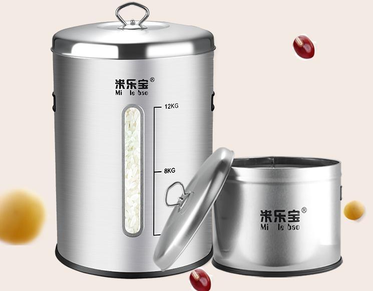 米桶不銹鋼304裝米桶儲米箱家用防蟲防潮米缸10-15kg密封面粉30斤
