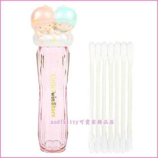 asdfkitty可愛家雙子星頭型棉花棒收納盒印章盒隨身牙籤盒-日本正版商品