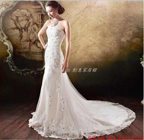 45 Design客製化預購7天到貨婚紗韓版抹胸甜美公主新娘鑽石魚尾拖尾婚紗禮服